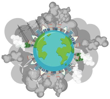 Pollution on earth with many smoke coming out of factory buildings illustration Ilustração