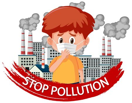 Poster design for stop pollution with boy wearing mask illustration Ilustração