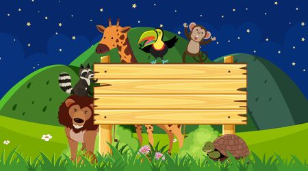 Wooden sign with animals at night time illustration Ilustrace