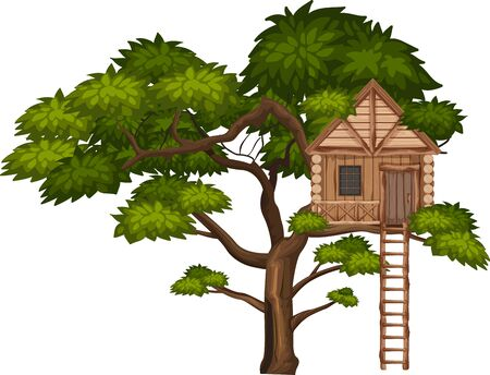 Big tree and treehouse on white background illustration