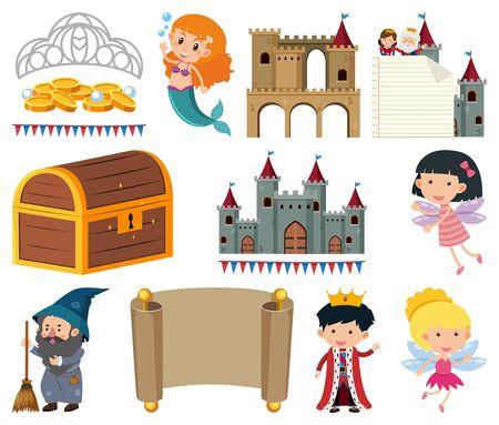 Set of isolated objects theme fairytales illustration Çizim