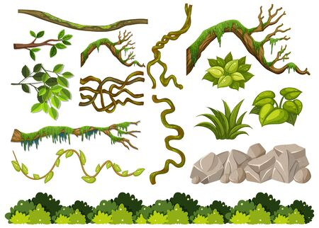 Set of wooden branches and rocks on white background illustration