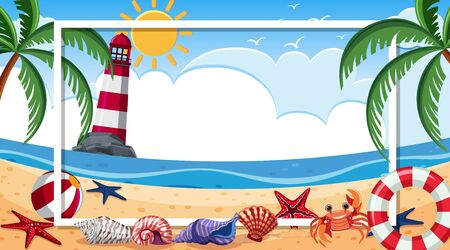 Frame design with seashells and crab on the beach background illustration
