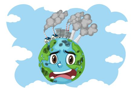 Pollution on earth with factory buildings and dirty smoke illustration