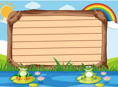 Wooden sign template with two frogs in the park illustration