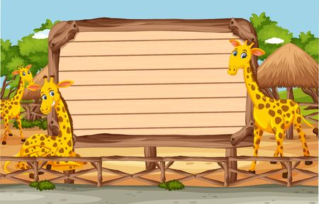 Wooden sign template with giraffes in the park illustration