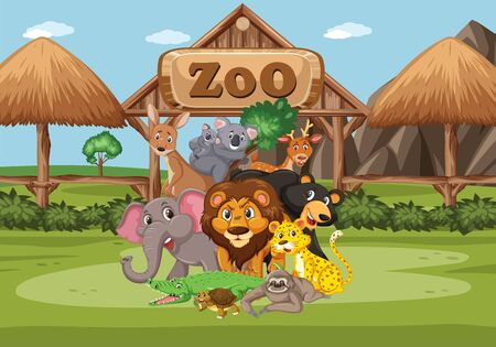 Scene with wild animals in the zoo at day time illustration Ilustrace