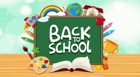 Back to school sign with many school items illustration