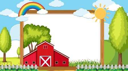 Border template with red barn on the farm illustration