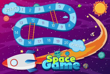 Game template with spaceship flying in space background illustration