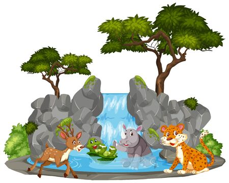 Background scene of animals by the waterfall illustration 向量圖像