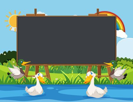 Blackboard template design with ducks swimming in the river illustration 向量圖像