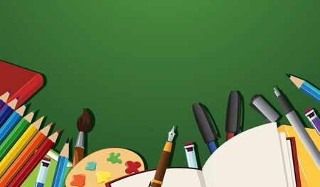 Background template with different school items in the back illustration