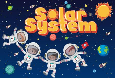 Background theme of space with astronauts and solar system illustration