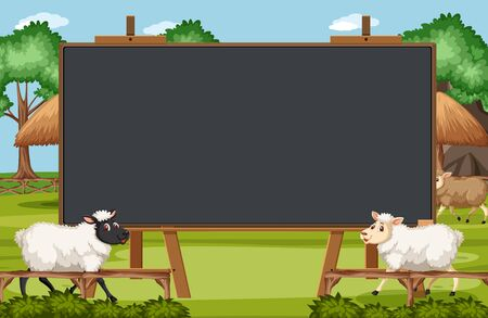 Blackboard template design with sheeps on the farm illustration