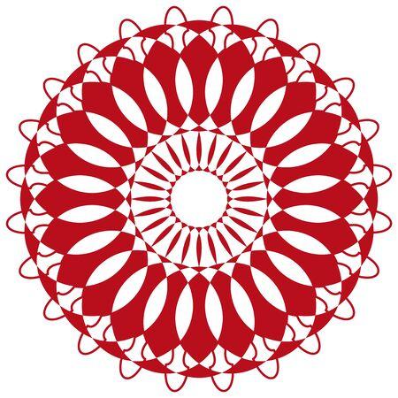 Mandala pattern design in red color illustration Ilustrace