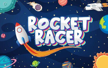 Poster design with rocket racer in dark space illustration Stock Illustratie