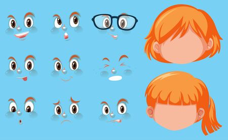 Set of human heads and different expressions on the face illustration