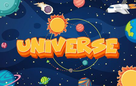 Poster design with spaceship and many planets in the universe illustration