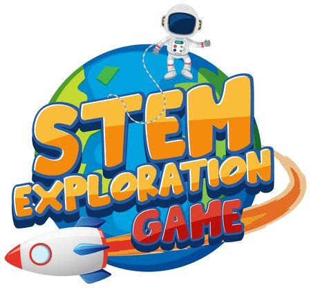 Sticker template for word STEM exploration game illustration
