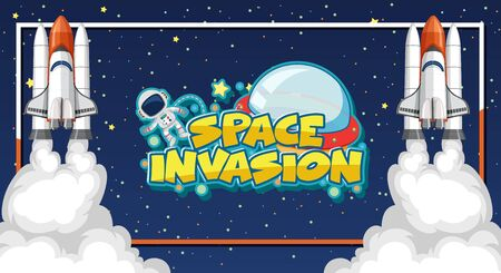 Space invasion sign template with astronaut and two spaceships illustration  イラスト・ベクター素材
