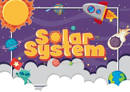 Poster design with many planets in the solar system illustration