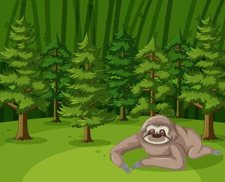 Scene with sloth crawling in the big forest illustration