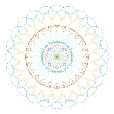 Mandala pattern design in blue and yellow color illustration