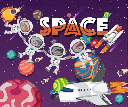 Poster design template with astronauts and many planets in background illustration  イラスト・ベクター素材