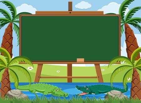 Blackboard template design with two crocodile swimming in the river illustration