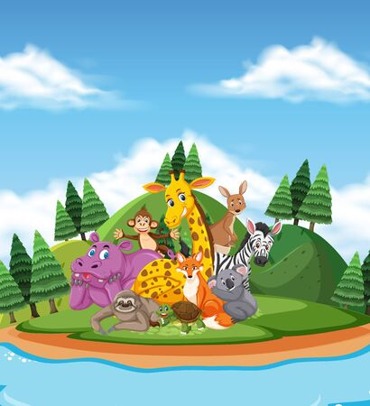 Scene with wild animals by the lake at day time illustration