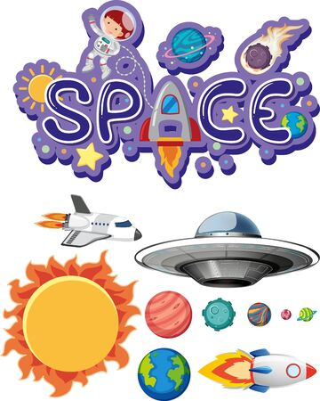 Sticker design with space theme on white background illustration  イラスト・ベクター素材
