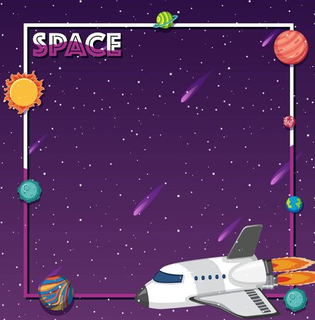 Background theme of space with rocketship and solar sytem illustration