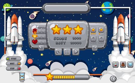 Screen template for computer game with space theme illustration