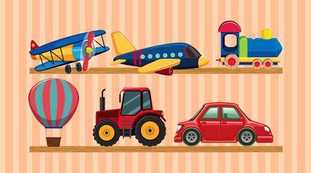 Many transportation toys on wooden shelves illustration  イラスト・ベクター素材