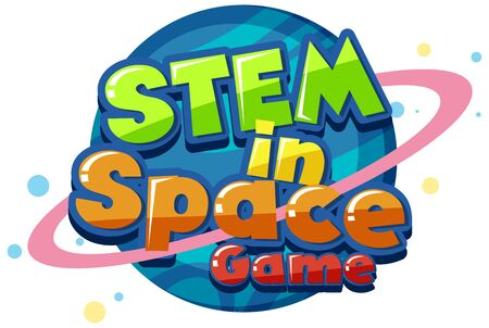 Sticker template for word STEM in space game illustration