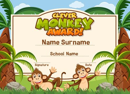 Certificate template for clever award with monkeys in background illustration