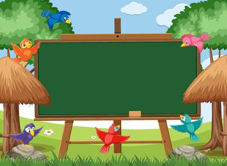 Blackboard template design with colorful birds flying in the park illustration