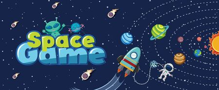 Poster design with many planets in solar system illustration