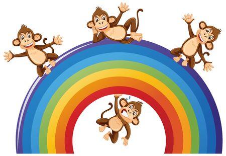 Happy monkeys over the rainbow on white background illustration