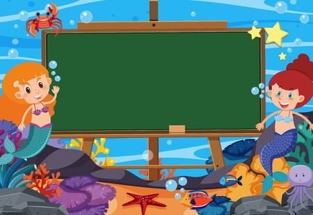 Blackboard template design with mermaids and fish under the ocean illustration