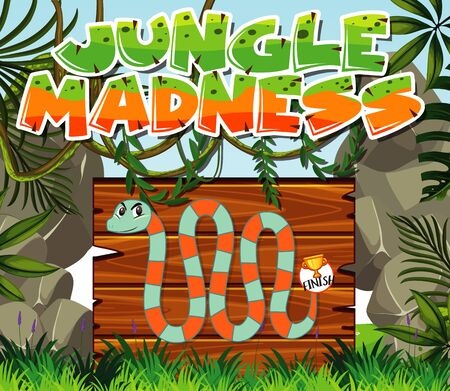 Game template with snake in the jungle background illustration