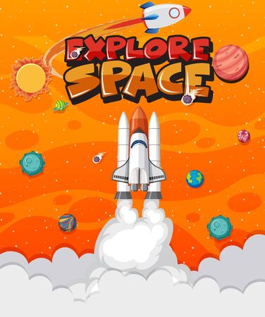 Background theme of space with spaceship flying in the space illustration