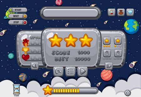 Screen template for computer game with space background illustration