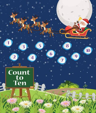 Counting numbers with Santa flying in the sky background illustration