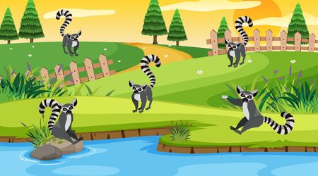 Scene with lemurs in the field illustration