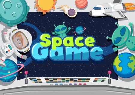 Poster design with aliens and astronaut in space illustration