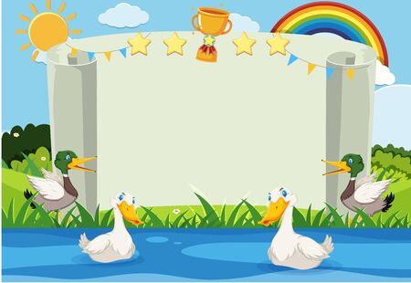 Banner template with ducks swimming in the river illustration