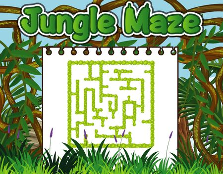 Game template with green grass in background illustration