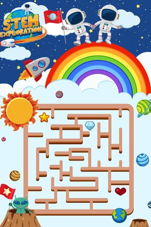 Game template with astronauts standing on the rainbow in background illustration Stock Illustratie